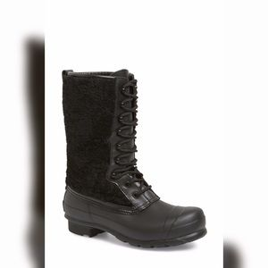 Hunter Original Shearling Lace Rain Boots Black